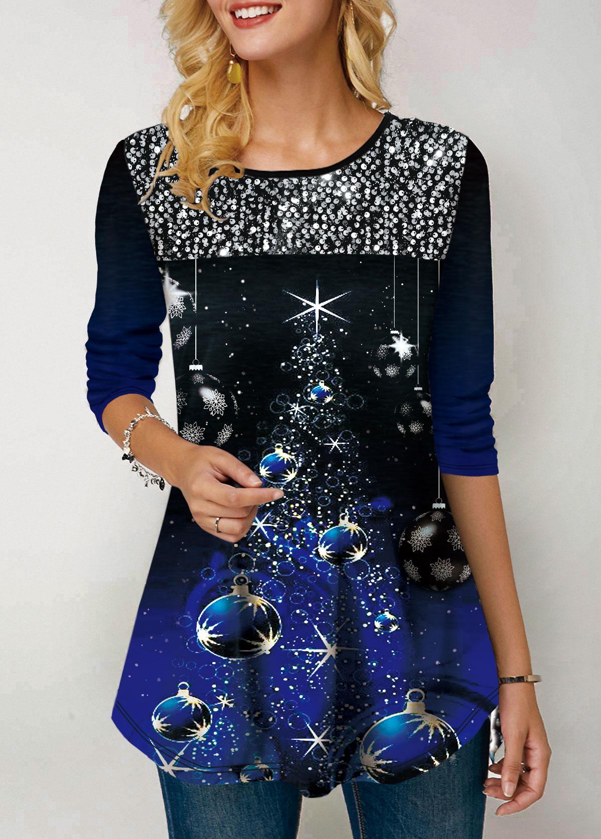 Christmas Print Long Sleeve Sequin Embellished T Shirt