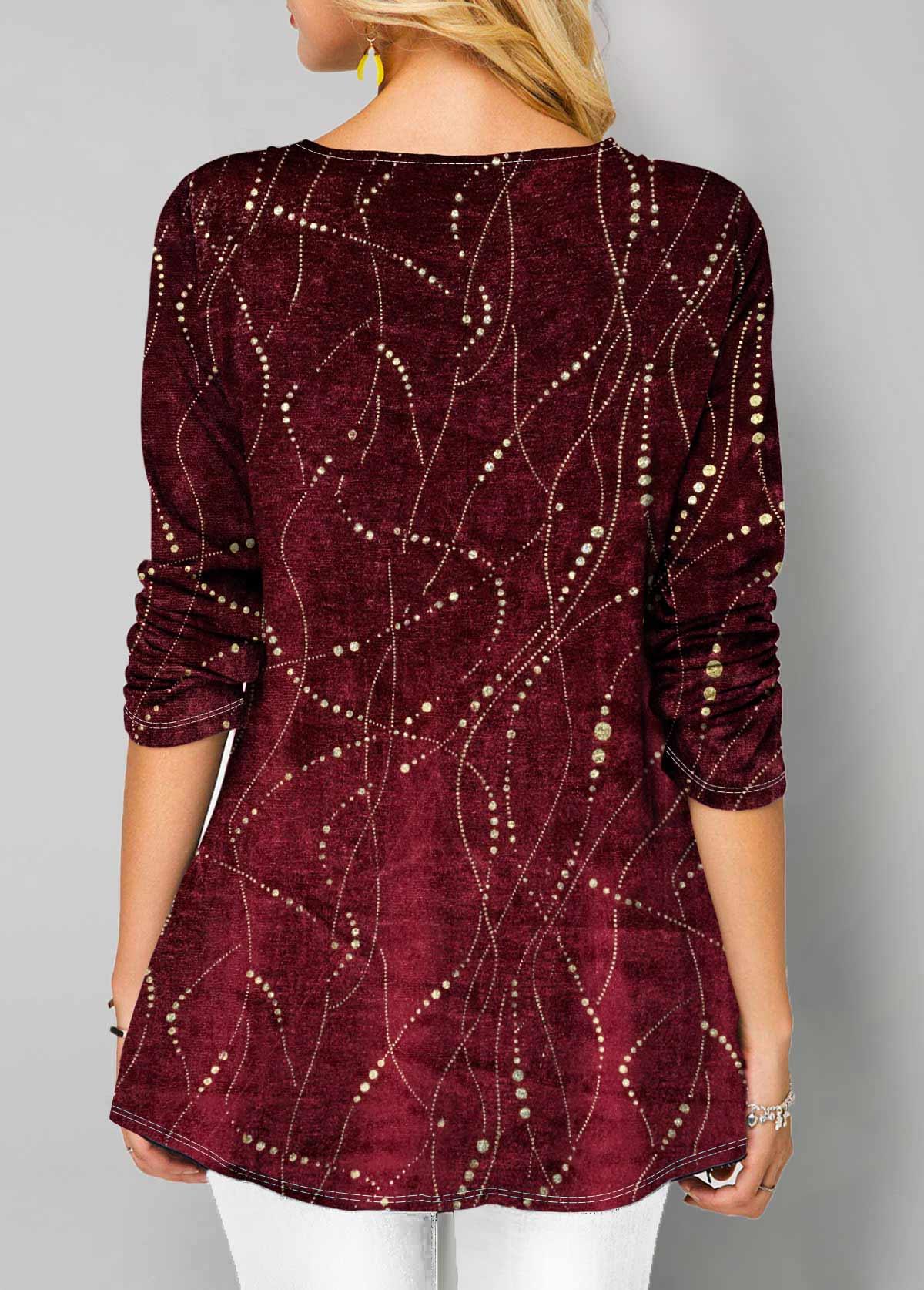 Red Round Neck Long Sleeve Velvet T Shirt