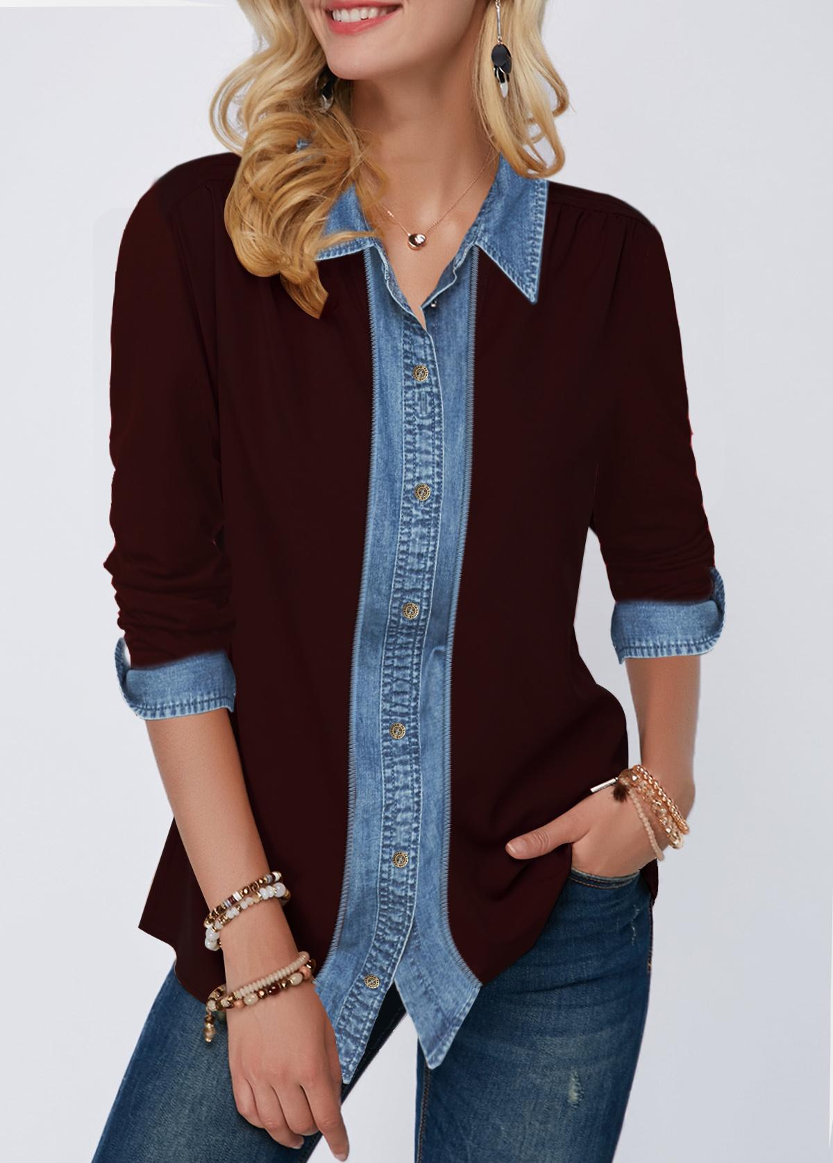 Button Up Denim Panel Turndown Collar Shirt