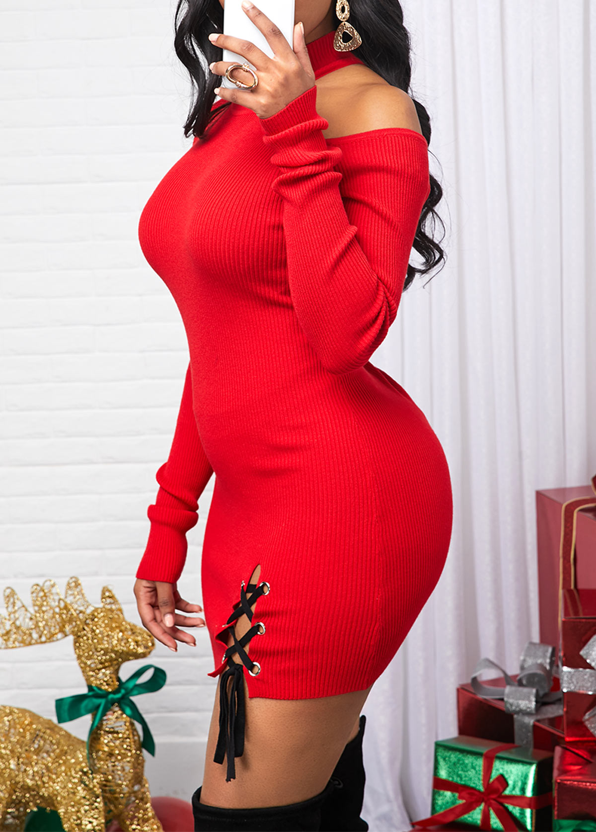 Lace Up Cold Shoulder Red Sweater Dress