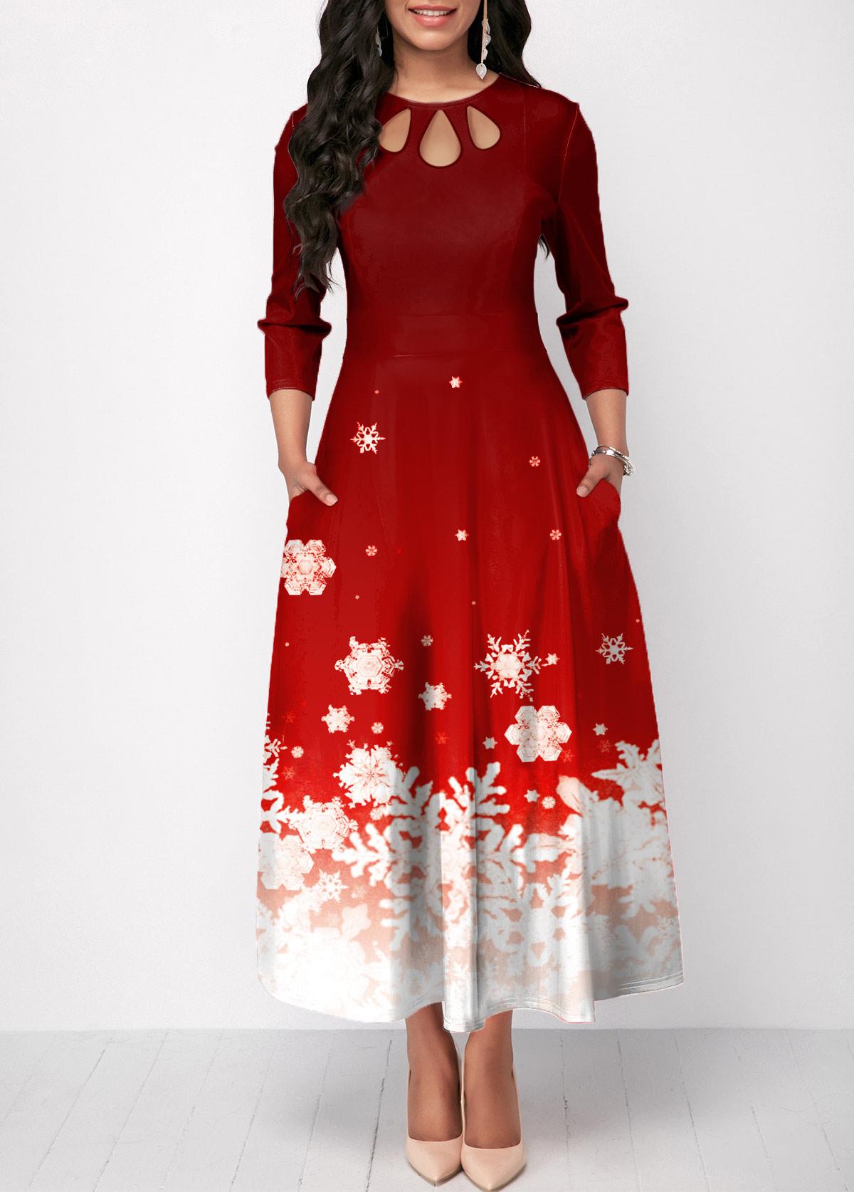 Christmas Snowflake Print Cutout Front Red Maxi Dress