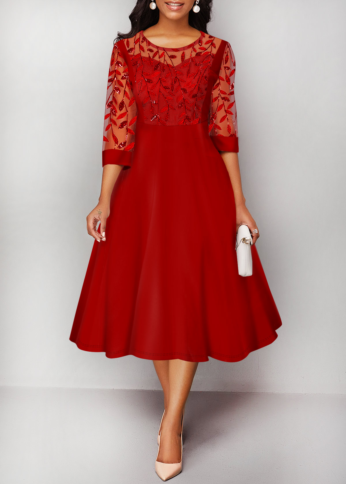 Round Neck Embroidered Mesh Panel Red Dress