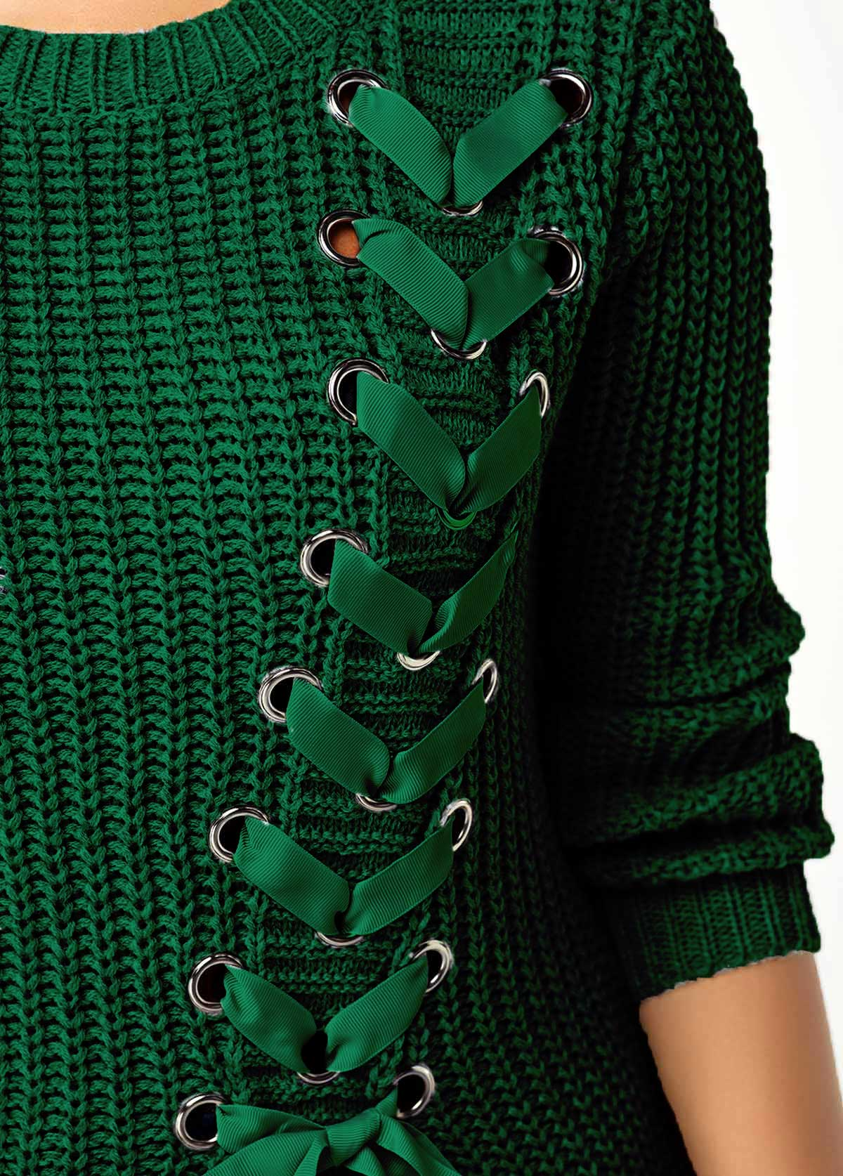 Split Front Lace Up Long Sleeve Sweater