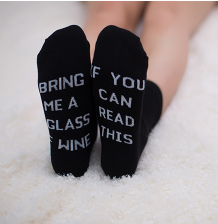 Calf Length Letter Print Black Socks