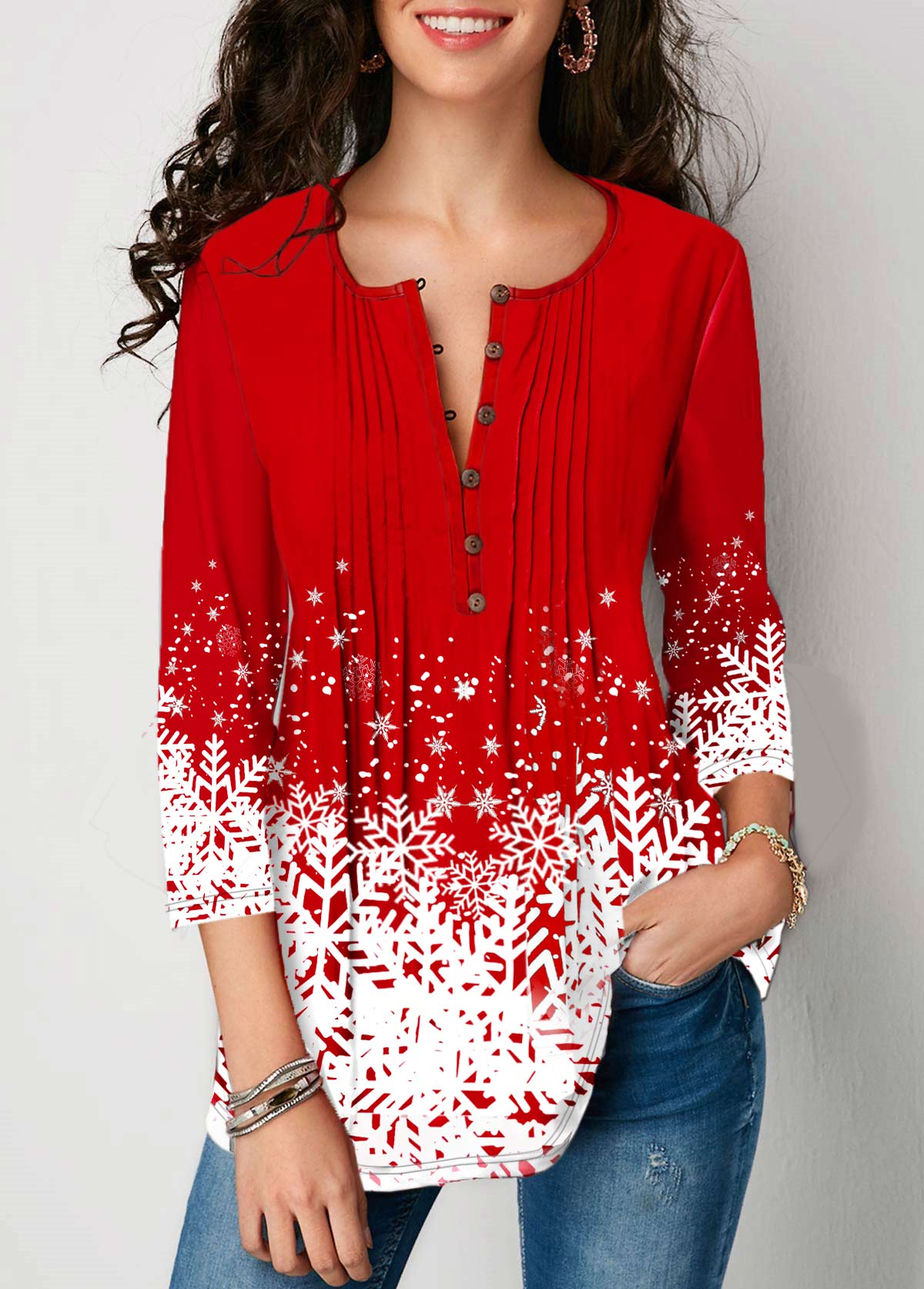 Three Quarter Sleeve Printed Button Front Blouse