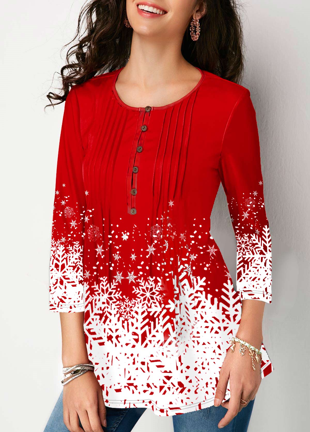 3/4 sleeve Printed Button Front Blouse
