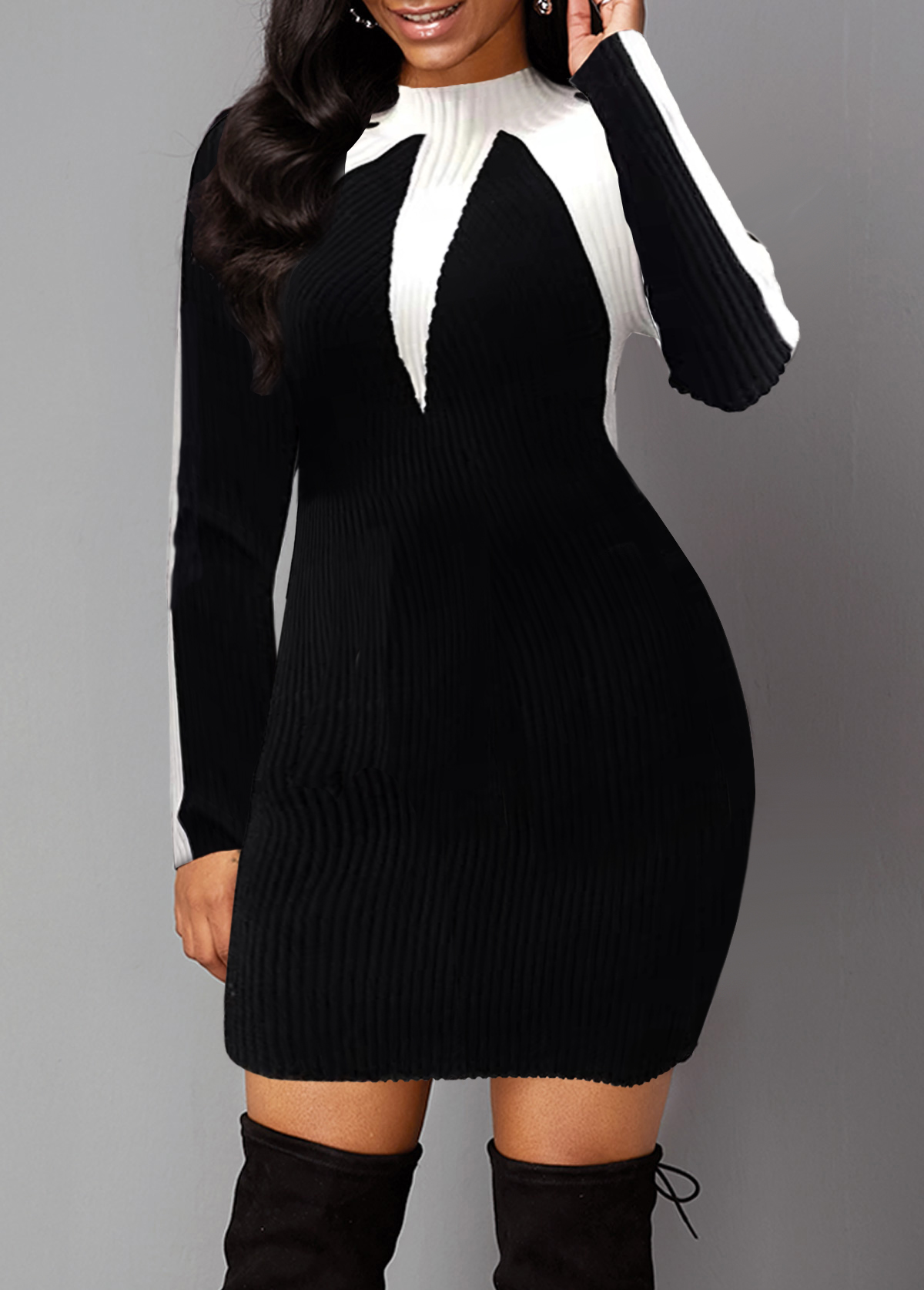 Black Long Sleeve Mock Neck Sweater Dress