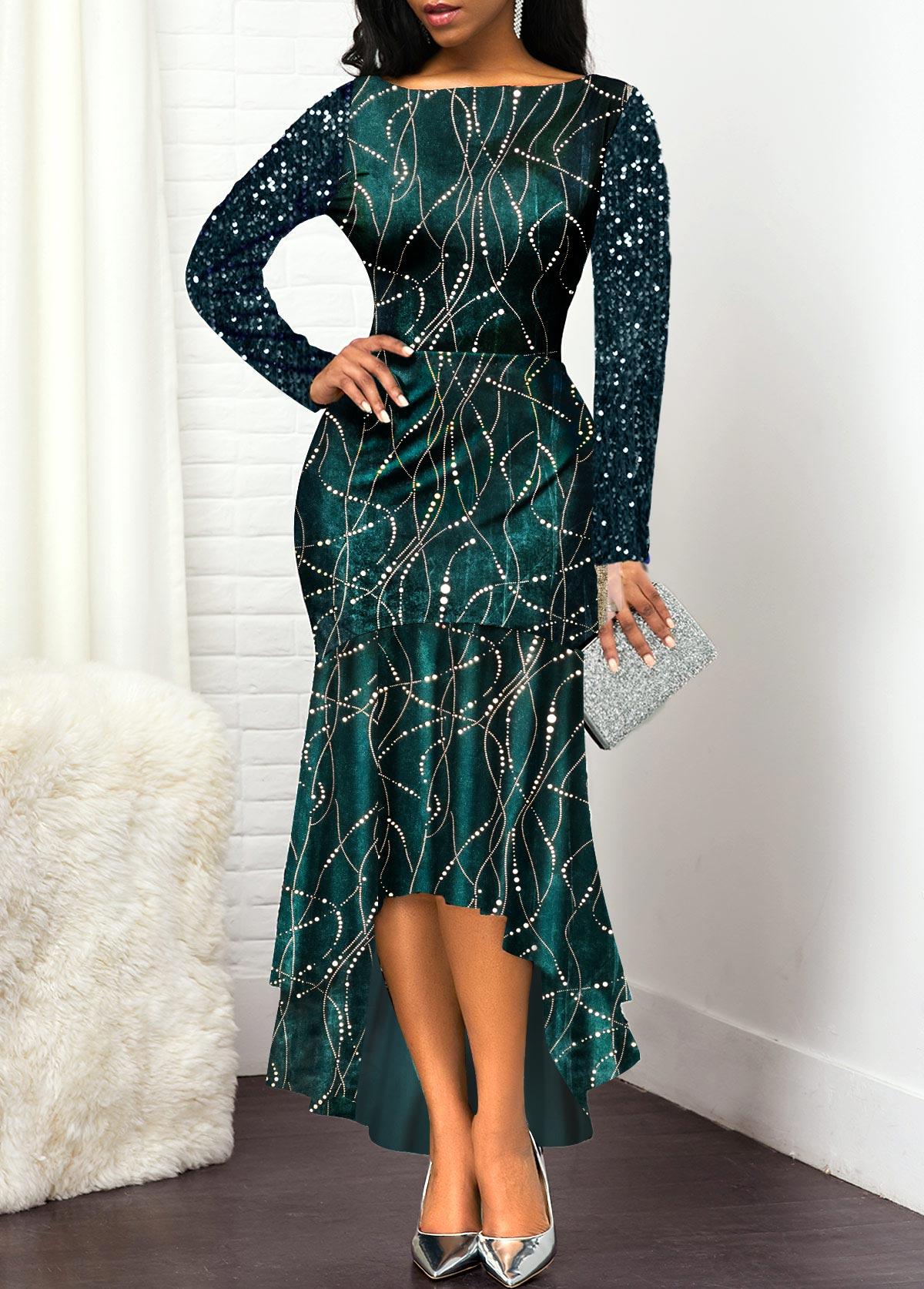 Boat Neck High Low Sequin Embellished Dress