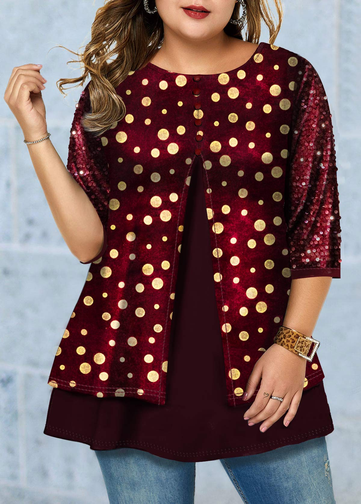 Hot Stamping Plus Size Sequin Detail T Shirt
