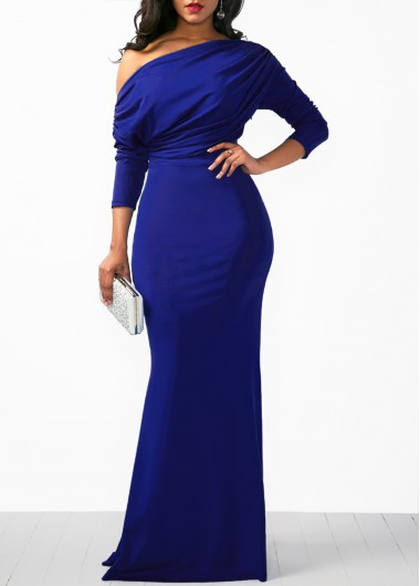 Women Royal Blue Evening Gown Long Sleeeve Skew Neck Mermaid Hem Maxi Evening Party Maxi Draped Sheath Dress By Rosewe - XL
