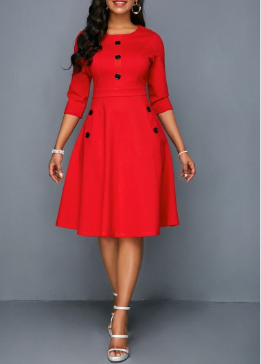 Women'S Red Three Quarter Sleeve A Line Casual Dress Solid Color Button Detail Knee Length Elegant Party Dress By Rosewe - XXL