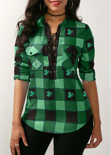 St. Patrick'S Day Women'S Green Plaid Print Lace Up Front Long Sleeve Blouse Shamrock Print Split Neck Tunic Casual Top By Rosewe - L