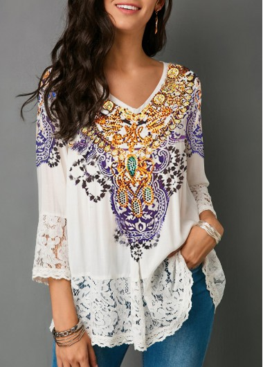 Rosewe Women Blouse White Lace Printed V Neck - L