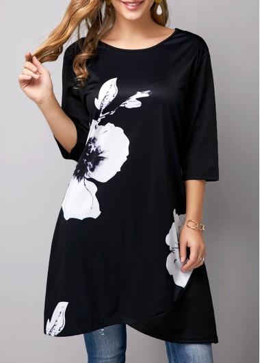 Tulip Hem Flower Print Black T Shirt