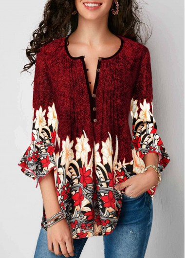 Women'S Wine Red Split Neck Floral Printed Tunic Spring Dress Burgundy Flare Sleeve Three Quarter Sleeve Casual Dress By Rosewe - L