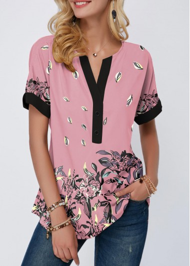 Women'S Light Pinl Floral Printed Contrast Piping Tunic T Shirt Notch Neck Casual Spring Top By Rosewe - L