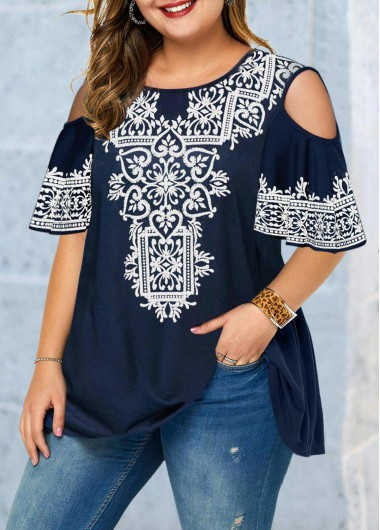 Women'S Navy Blue Plus Size Tribal Print Blouse Cold Shoulder Half Sleeve Round Neck Tunic Casual Top By Rosewe - 0X