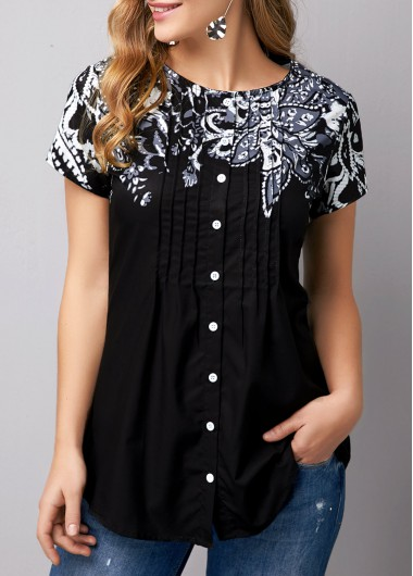Women'S Black Floral Printed Short Sleeve Tunic T Shirt Button Up Pleated Casual Top By Rosewe - L