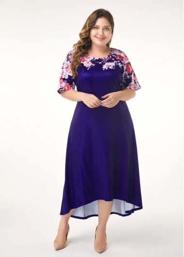 Women'S Plus Size Navy Blue Party Dress Mother Of The Bride Maxi Floral Printed Dip Hem Half Sleeve High Low Dress By Rosewe - 0X