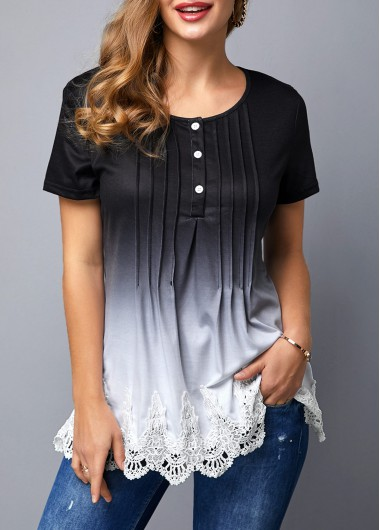 Women'S Black Crinkle Chest Short Sleeve Tunic T Shirt Ombre Dip Dye Scalloped Hem Lace Panel Casual Top By Rosewe - M
