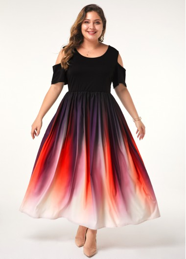 Women'S Plus Size Cold Shoulder Dress Half Sleeve Maxi Gradient Ombre Dip Dye Casual Dress By Rosewe - 0X
