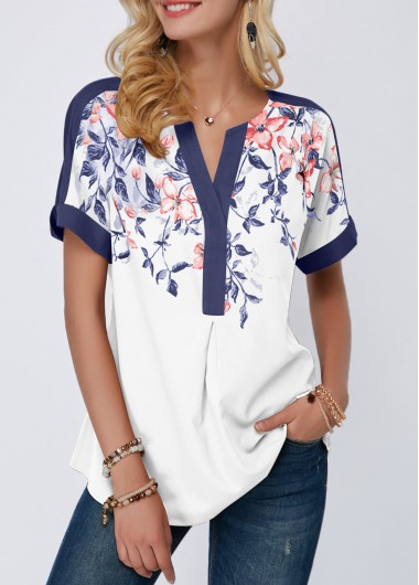 Women'S Navy Blue Floral Print Split Neck Short Sleeve Spring Blouse Contrast Piping Tunic Casual Top By Rosewe - L