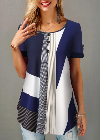 Women'S Navy Blue Tunic Casual Blouse Color Block Round Neck Short Sleeve Button Detail Geometric Printed Top By Rosewe - L
