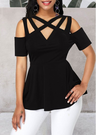 Women'S Black Cold Shoulder Strappy Peplum Waist Blouse Solid Color Short Sleeve Casual Top By Rosewe - L