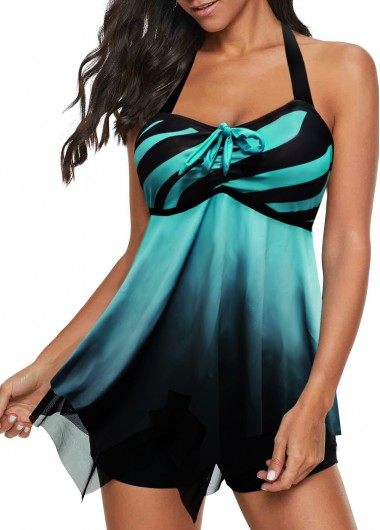 Women'S Cyan Two Piece Padded Swimdress Wire Free Halter Neck Open Back Stripe Printed Bandeau Bating Suit And Shorts By Rosewe - L