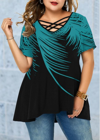 Women'S Plus Size Cyan Printed Casual Blouse Green Feather Print Lattice Front Tunic Top By Rosewe - 0X
