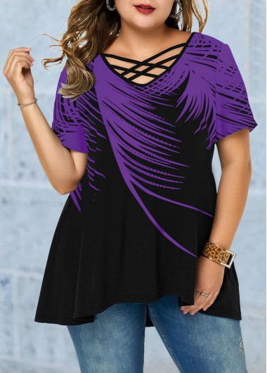 Women'S Plus Size Purple Casual Blouse Short Sleeve Criss Cross Feather Printed Asymmetric Hem Tunic T Shirt By Rosewe - 0X