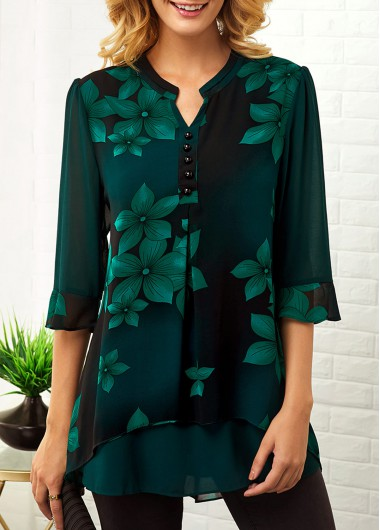Women'S Dark Green Large Floral Print Split Neck Tunic Casual Blouse Button Detail Three Quarter Sleeve Longline Top By Rosewe - L