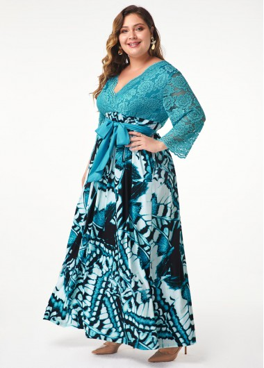 Women'S Plus Size Mother Of The Bride Dess Peacock Blue V Neck Belted Evening Party Three Quarter Sleeve Lace Panel Printed Maxi Dress By - 0X