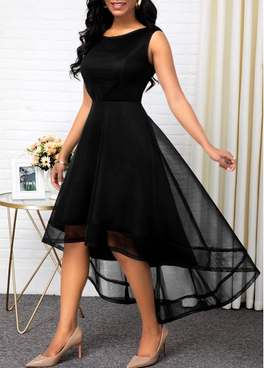 Women'S Black Sleeveless A Line High Waisted Cocktail Party Dress Solid Color Round Neck High Low Elegant Maxi Dress By Rosewe - L