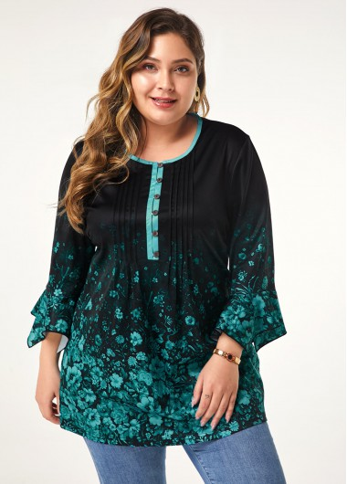 Women'S Cyan Plus Size Floral Casual Blouse Green Tunic Three Quarter Sleeve Printed Buttin Front Top By Rosewe - 0X