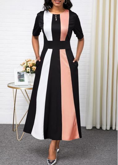 Women'S Color Block Vintage Party Dress Half Sleeve Maxi A Line Button Detail High Waisted Elegant Dress By Rosewe - L