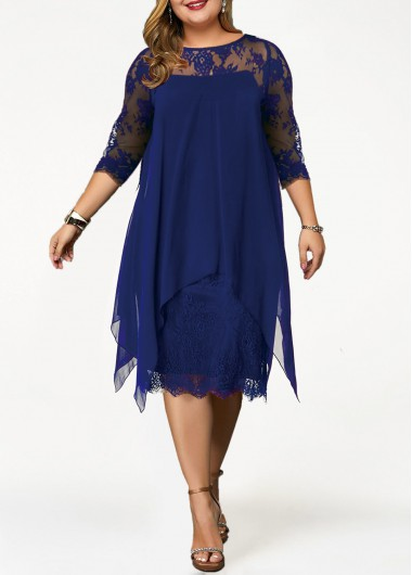 Women'S Royal Blue Illusion Chiffon Straight Plus Size Cocktail Party Dress Solid Color Overlay Lace Panel Three Quarter Sleeve Midi Dress - 0X