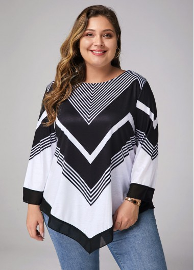 Women'S Black And White Plus Size Tunic T Shirt Color Block Printed Three Quarter Sleeve Round Neck Asymmetric Hem Casual Top By Rosewe - 0X