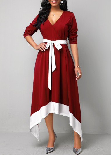 Women'S Wine Red Long Sleeve Asymmetric Hem Maxi Dress Burgundy Belted Cocktail Party Dress By Rosewe - L