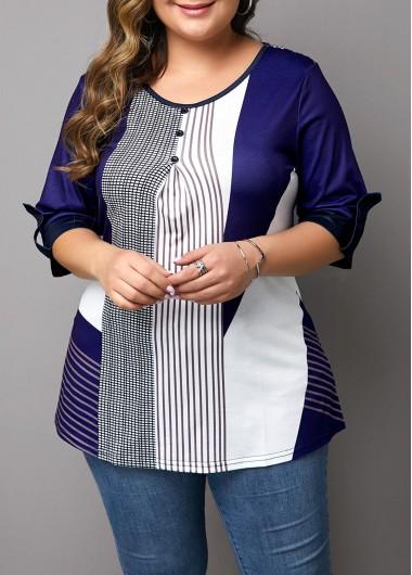 Button Detail Plus Size Stripe Print T Shirt - 0X