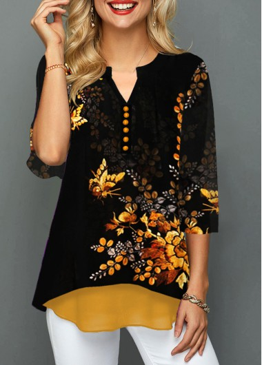 Women'S Orange Floral Printed Spring Casual Overlay Blouse Button Detail Three Quarter Sleeve Split Neck Tunic Top By Rosewe - L