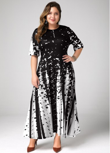 Women'S Black Plus Size Cocktail Party Dress Printed A Line Half Sleeve Maxi Dress By Rosewe - 0X