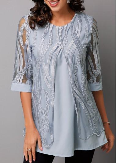 Faux Two Piece Half Sleeve Lace Panel T Shirt - L