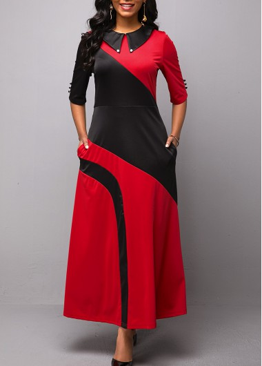 Women'S Black And Red Vintage Maxi Dress Color Block Half Sleeve Keyhole Back A Line Work Fall Dress By Rosewe - L