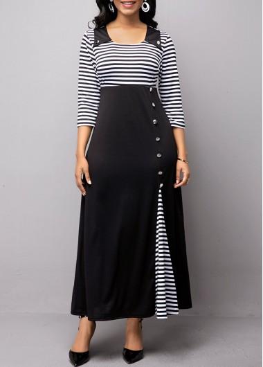 Women'S Little Black Dress A Line Stripe Print Three Quarter Sleeve Midi High Waisted Elegant Work Dress By Rosewe - L