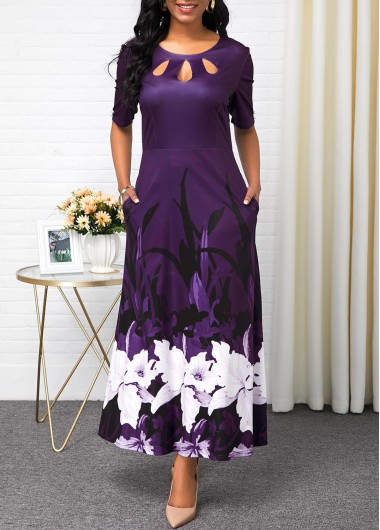 Women'S Deep Purple Half Sleeve Maxi Vintage Dress Printed Button Detail Fall A Line Elegant Party Dress By Rosewe - M