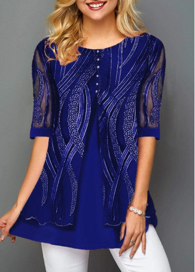 Women'S Royal Blue Layered Hem Tunic T Shirt Half Sleeve Casual Lace Panel Button Detail Top By Rosewe - S