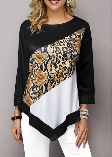 Women'S Black Three Quarter Sleeve Tunic Casual T Shirt Asymmetric Hem Printed Fall Top By Rosewe - L