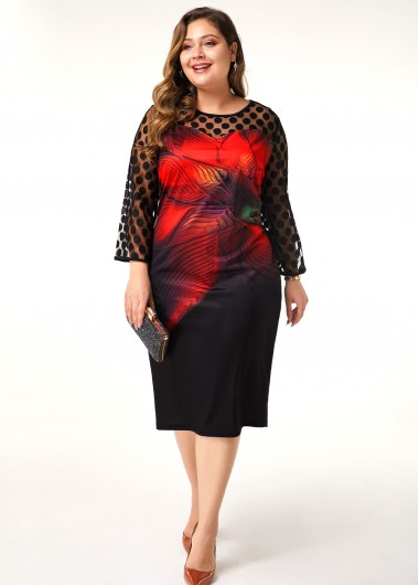 Women'S Black Floral Print Plus Size Casual Dress Illusion Three Quarter Sleeve Sheath Midi Fall Dress By Rosewe - 0X