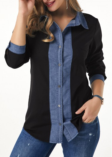 Women'S Black Button Up Long Sleeve Fall Shirt Roll Tab Sleeve Turndown Collar Tunic Casual Top By Rosewe - L
